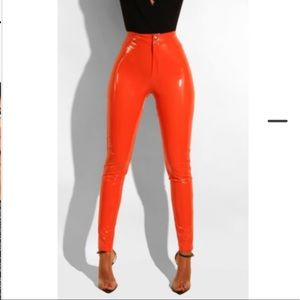 Pants - Brand New Orange Vinyl Pants